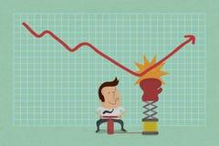 Biznesmen z biznesowym narastającym wykresem Zdjęcia Stock