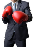 Biznesmen z bokserską rękawiczką przygotowywającą walczyć z pracą, biznes Obraz Royalty Free