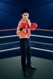 Biznesmen z bokserskimi rękawiczkami w pierścionku Zdjęcie Stock