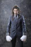 Biznesmen z bokserskimi rękawiczkami Obrazy Royalty Free