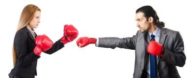 Biznesmen z bokserskimi rękawiczkami na bielu Obrazy Royalty Free