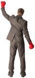 Biznesmen z bokserskimi rękawiczkami, tylni widok Zdjęcia Royalty Free