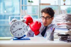 Biznesmen z bokserskimi rękawiczkami w biurze Obraz Royalty Free