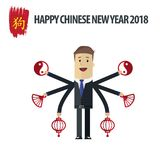 Biznesmen z Chińskimi nowy rok elementami ilustracja wektor