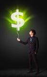 Biznesmen z dolarowego znaka balonem fotografia royalty free