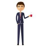 Biznesmen z filiżanką herbaty i teapot kreskówki płaska bolączka Obrazy Royalty Free