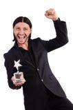 Biznesmen z gwiazdową nagrodą odizolowywającą Zdjęcie Royalty Free