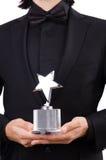 Biznesmen z gwiazdową nagrodą odizolowywającą Zdjęcie Stock