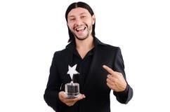 Biznesmen z gwiazdową nagrodą odizolowywającą Obrazy Stock