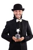 Biznesmen z gwiazdową nagrodą odizolowywającą Obraz Royalty Free
