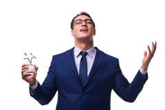 Biznesmen z gwiazdową nagrodą odizolowywającą na bielu Zdjęcie Royalty Free