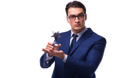 Biznesmen z gwiazdową nagrodą odizolowywającą na bielu Zdjęcia Stock