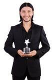 Biznesmen z gwiazdową nagrodą odizolowywającą Obrazy Royalty Free