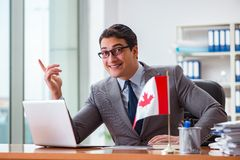Biznesmen z kanadyjczyk flaga w biurze zdjęcia royalty free
