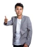 Biznesmen z kciukiem up gestykuluje Obraz Royalty Free