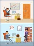 Biznesmen z kobieta klientem w mężczyzny biura pokoju royalty ilustracja