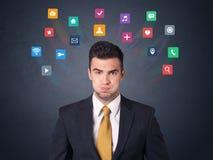 Biznesmen z kolorowymi apps Fotografia Royalty Free