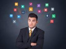 Biznesmen z kolorowymi apps Fotografia Stock