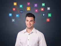 Biznesmen z kolorowymi apps Zdjęcie Royalty Free