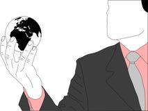 Biznesmen z kulą ziemską ilustracja wektor