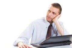Biznesmen z laptopem obrazy stock