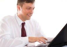 Biznesmen z laptopem obrazy royalty free
