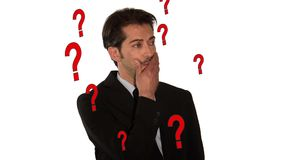 Biznesmen z mnóstwo pytaniami zbiory wideo