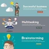 Biznesmen z multitasking i wielo- umiejętnością, dosięgający cel i sukces brainstorming pomysłu pojęcie, sieć sztandary Zdjęcie Royalty Free