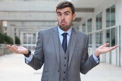 Biznesmen z ` nie mieć pojęcia ` wyrażenie zdjęcia royalty free