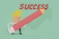 Biznesmen z ołówkowym writing sukcesem Obrazy Royalty Free