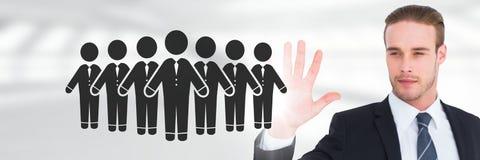 Biznesmen z otwartą ręką i ludźmi biznesu grupowej ikony Fotografia Stock