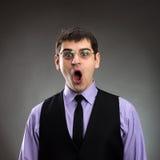 Biznesmen z otwartym usta obraz stock