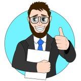 Biznesmen z papierem w jego ręce black tła pojedynczy kciuk, ilustracja obrazy royalty free