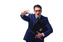 Biznesmen z pistoletem odizolowywającym na bielu Zdjęcia Stock