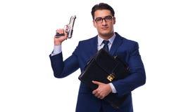 Biznesmen z pistoletem odizolowywającym na bielu Obrazy Stock