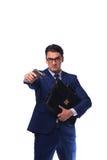 Biznesmen z pistoletem odizolowywającym na bielu Zdjęcie Stock