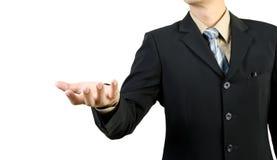 Biznesmen z przygotowywającą otwartą ręką Zdjęcie Royalty Free
