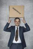 Biznesmen z pudełkiem doświadczenie Obrazy Royalty Free