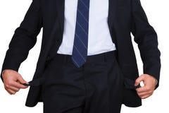 Biznesmen z pustymi kieszeniami Fotografia Stock