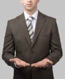 Biznesmen z pustymi rękami zdjęcia stock