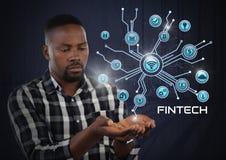 Biznesmen z ręki palmą otwartą i Fintech z różnorodnym biznesowym ikona interfejsem Fotografia Royalty Free