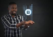 Biznesmen z ręki palmą otwartą i ochrona kędziorka ikonami Zdjęcia Stock