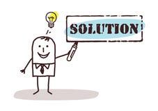 Biznesmen z rozwiązanie znakiem ilustracja wektor