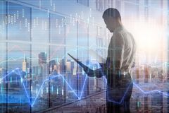 Biznesmen z rynek walutowy mapą ilustracji