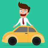Biznesmen z samochodem 3 d pojęcia pojedynczy utylizacji inwestycji Obraz Royalty Free