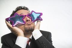 Biznesmen z szkło gwiazd, szalonego i śmiesznego człowiekiem sukcesu, Zdjęcia Stock