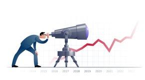 Biznesmen z teleskopem explorating przyszłość Obrazy Royalty Free