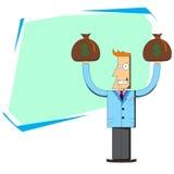 Biznesmen z torbami pieniądze behind i pusty rozkład Ilustracja Wektor