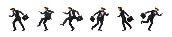 Biznesmen z tricorn i teczka odizolowywaj?ca na bielu obraz royalty free