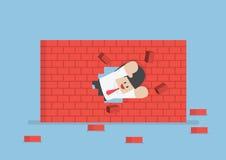 Biznesmena łamanie przez ściany ilustracja wektor